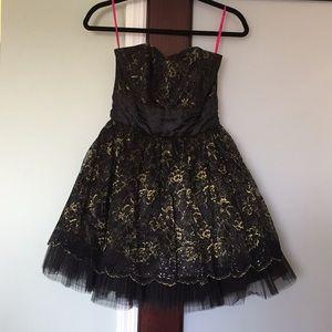 Betsey Johnson black and gold dress